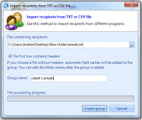 Import recipients from txt or csv file